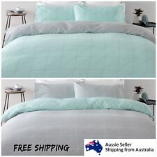New King Bed Reversible Quilt Cover Set Doona Duvet Bedding Bedspread Aqua Green