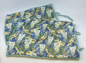 2 POTTERY BARN Swallows BIRD Standard Pillow Cover SHAM Blue GREEN Tie Quilted