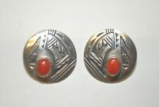 """Vintage Navajo Sterling Silver Turquoise Coral Post Earrings Sign """"E L"""""""