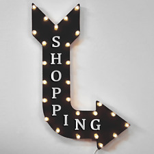 Shopping Rustic Metal Marquee Center Mall Gift Shop Open Arrow Light Up Sign