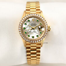 Very Rare Rolex Lady DateJust 69138 Mother of Pearl Emerald Dial 18k Yellow Gold