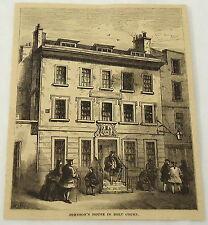 1881 magazine engraving ~ DR. SAMUEL JOHNSONS house in BOLT COURT, England