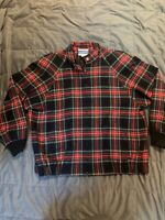 Vintage Pendleton Virgin Wool Women's Bomber Jacket Christmas Red Green Plaid XL
