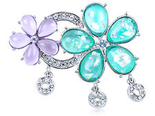 Flower Pin Brooch Party Wedding Gift Diamante Crystal Shimmer Blue Lavender Twin