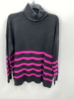Vince Camuto Womens Size M Medium Rich Gray Pink Striped Long Sleeve Sweater