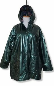 Vintage WIPPETTE Womens Green Shiny Raincoat PVC Vinyl Lined Hooded Jacket Large