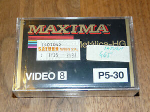 Maxima Video 8 P5-30 Leerkassette Videokassette neu in Folie, vintage video tape