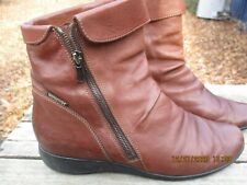 MEPHISTO Air-Jet Brown Leather Side Zip Ankle Booties Boots Women's US 9 EUC