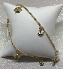 14K Solid Yellow Gold Anchor And Steering Wheel Anklet