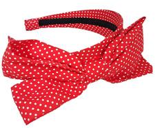 Ladies Red White Polka Dot Headband 60's Spotty Bow Hair Accessory Holder Band