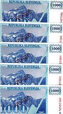 LOT SPECIMEN, Slovenia, 5 x 1000 (Tolarjev), 1992, P-9s1, UNC