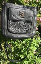 BRIGHTON MILA  SOHO Embossed HEARTS Black Leather ORGANIZER Purse Shoulder BAG