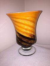 Modern Art Glass Vase. Hand Blown... Swirl Design...Orange, Tan, Brown & White