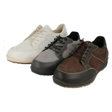 Mens Easy B Brown/White/Grey Leather Lace Up Wide Fitting Shoes : Bill