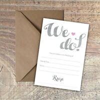 "WEDDING INVITATIONS BLANK SIMPLE GREY & WHITE ""WE DO!"" PACKS OF 10"
