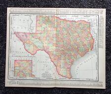 Vintage Original Map 1897 Texas, Eaton & Mains