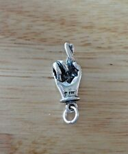 Sterling Silver Sign Language Letter R Hand Keep your Fingers Crossed Luck Charm