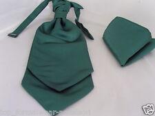 (011) Hunter (frasco) Verde Para Hombre Scrunchie Ruche Boda Corbata Corbata & Pañuelo Set -