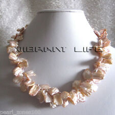 """Freshwater Pearl Necklace F Jewelry 18"""" 9-15mm Peach Pink 2Row Keshi"""