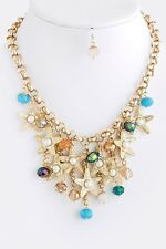 D19 Gold Blue Orange Starfish Pearl Cluster Charm Necklace Earring Set
