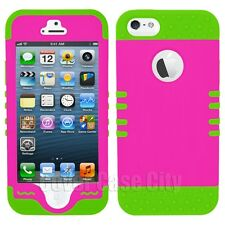 KoolKase Hybrid Cover for Apple iPhone 5 5S Impact Rugged Case Hot Pink Green