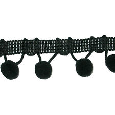 "Pom Pom Fringe Trim 1/2"" Ball Top Quality 6 Yard Bolt Black"