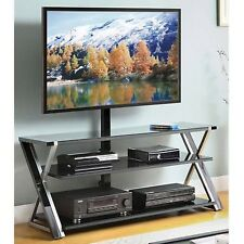 """Whalen 3-In-1 Black TV Console for TVs up to 70"""" Stand Entertainment Media Glass"""
