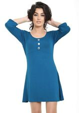 Women's Flared Button Front Scoop Neck Tunic Plus Size Ladies T- Shirt Long Top 20-22 Teal