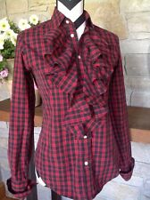 Ralph Lauren Sport Womens Plaid Ruffled Bodice Button Red Black Tunic Top Sz 4