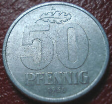 1958-A EAST GERMANY 50 PFENNIG IN EF-AU CONDITION