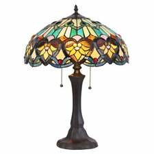 Victorian Design Tiffany Style Stained Glass 2-light Bronze Finish Table Lamp