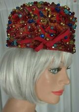 Vintage 1960s Mr. Henri New York Beaded Hat Red Multi Color Beads Church Party