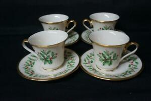 4 Lenox Holiday Dimension Cups and Saucers