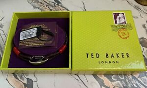 Ted Baker woven leather and silver bracelet, lobster clasp, o/s NWT w/box