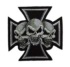 Iron Cross Skeleton Skull Bone Embroidered Biker Patch Iron On Sew On