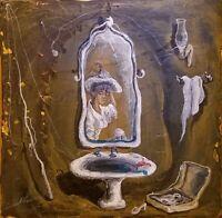 Enrique Agramonte Delirios Acrylic Canvas 8X8 Cuban Art Original Painting 2015