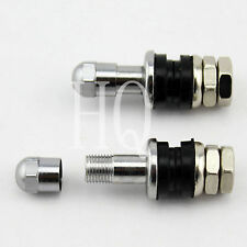 Bolt On Tire Valve Stems Chrome Metal Flush With Stem Caps PVR43A
