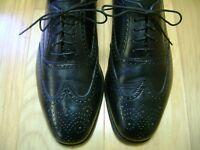 Men's Dress Shoes FLORSHEIM Lace Up Oxford SZ 9 D Black Leather Uppers WING TIP