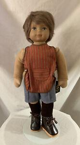 "Heidi Ott Boy Doll 17"" Vintage Human Hair Cloth Hands"