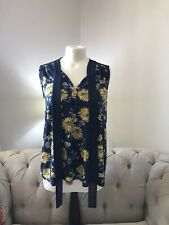 Ladies George Navy & Yellow Floral Top NWT Size 10