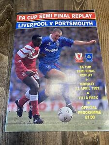 1992 England Liverpool V Portsmouth Football Soccer Programme Scrapbook FA Cup