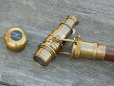 Nautical Walking Cane Antique Brass Stick 3 Folding Brown Wooden Telescope