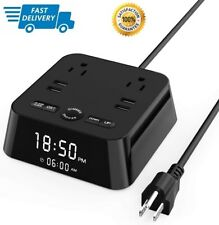 Alarm Clock Charger Station 4 Usb 2 Ac Outlets Power Strip for Hotel Home Office
