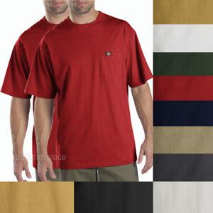 2 pcs Men's Dickies Short Sleeve POCKET T- SHIRT Tee Cotton Solid Plain colors