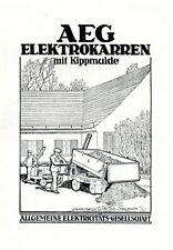 AEG Elektrokarren mit Kippmulde Reklame 1925 Elektrofahrzeug Werbung Baustelle