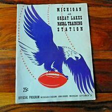 Vtg.  1942 MICHIGAN VS. GREAT LAKES NAVAL TRAINING STATION FOOTBALL PROGRAM