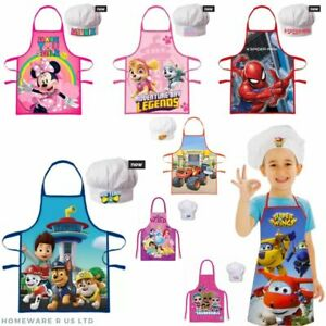 CHILDRENS KIDS COOKING APRONS APRON AND CHEFS HAT GIFT SET SIZE AGE 3 - 8 YEARS