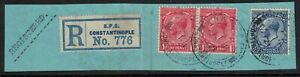 british levant stamps - constantinople 1921 cds - registered mail rate - piece