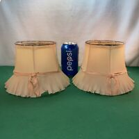 Vtg PAIR 20's Celluloid Pleated Pink Ribbon Clip Boudoir Vanity  Lamp Shades