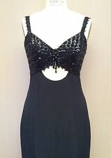Vintage 1970s Flirtations Rayon Beaded Sequin Maxi Dress Black Evening Prom XS